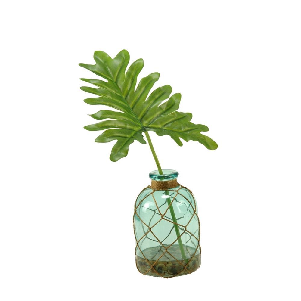 Indoor Selloum Philo Leaf in Blue Glass Bottle Vase