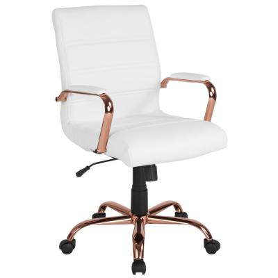 White Leather/Rose Gold Frame Office/Desk Chair
