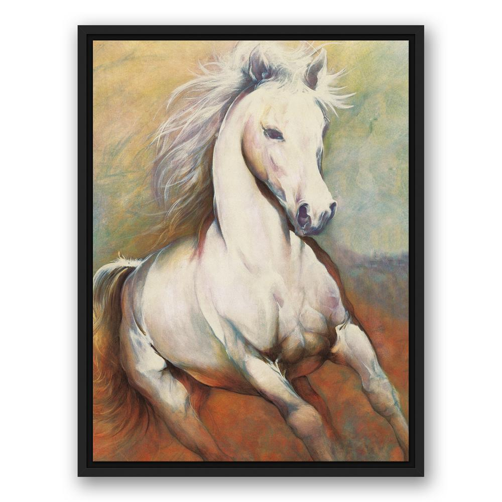 DESIGNS DIRECT 18 in. x 24 in. \'\'White Horse Running Wild\'\' Printed ...