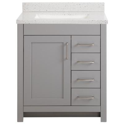 Westcourt 31 in. W x 22 in. D Bath Vanity in Sterling Gray with Solid Surface Vanity Top in Silver Ash with White Sink