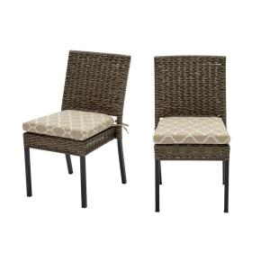 Laguna Point Brown Wicker Outdoor Patio Dining Chair with CushionGuard Toffee Trellis Tan Cushions (2-Pack)