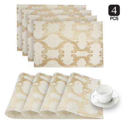 Scroll Gold Linen-Blend Printed Fabric Placemat (Set of 4)
