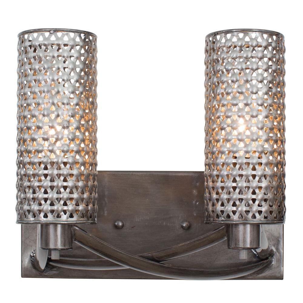 Casablanca 2-Light Steel Bath Vanity Light with Recycled Steel Mesh