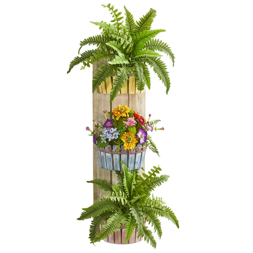 39 in. Indoor Mixed Floral and Fern Artificial Plant in Three-Tiered