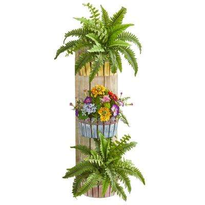39 in. Indoor Mixed Floral and Fern Artificial Plant in Three-Tiered Wall Decor Planter