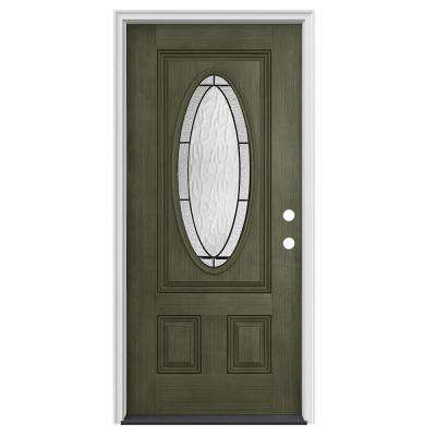 36 in. x 80 in. 3/4 Oval Lite Wendover Juniper Stained Fiberglass  sc 1 st  The Home Depot & Green - Front Doors - Exterior Doors - The Home Depot