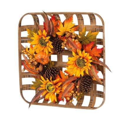 24 in. L x 24 in. W x 6.3 in. H Bamboo Tobacco Basket with Sunflower Wreath