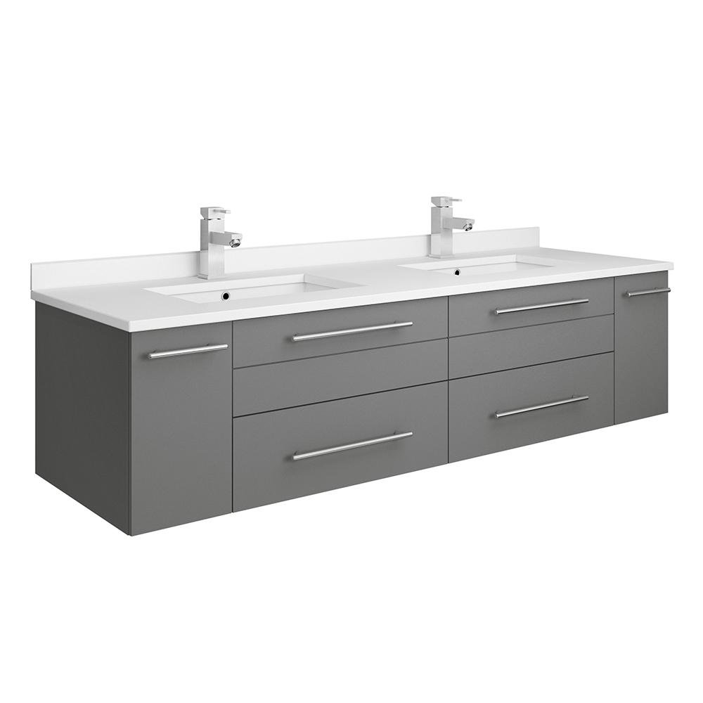 new arrival 74151 0a4bc Fresca Lucera 60 in. W Wall Hung Bath Vanity in Gray with Quartz Stone  Double Sink Vanity Top in White with White Basins