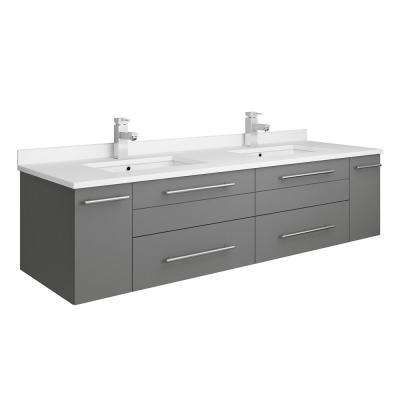 Lucera 60 in. W Wall Hung Bath Vanity in Gray with Quartz Stone Double Sink Vanity Top in White with White Basins