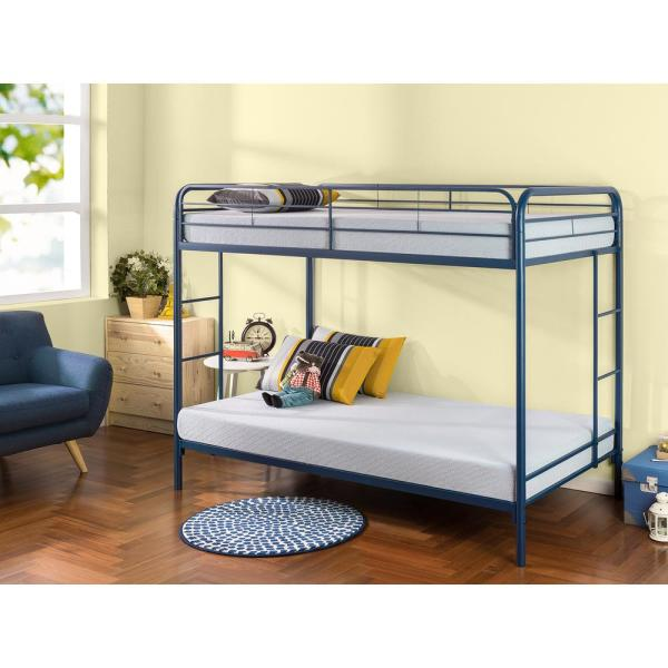 Zinus Quick Lock Twin Over Twin Metal Bunk Bed With Dual