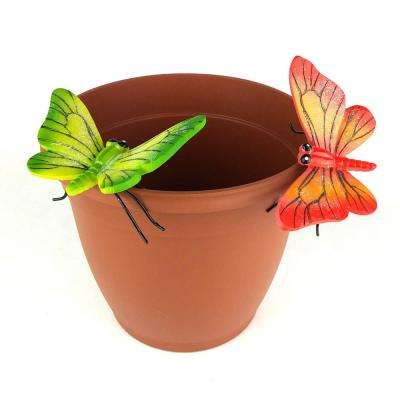 Orange and Green Butterfly Flower Pot Sitter Hanger (2-Piece)