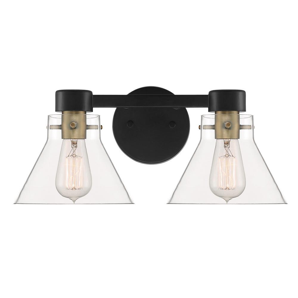 Willow Creek 2-Light Matte Black Bath Bar Vanity Light