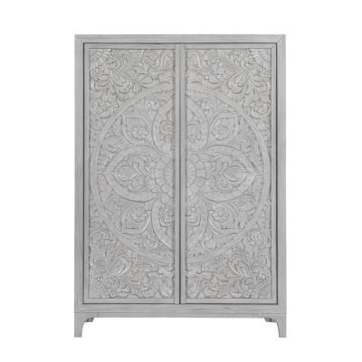 Boho Chic 3-Drawer Washed White Sweater Chest 64 in. H x 45 in. W x 20 in. D