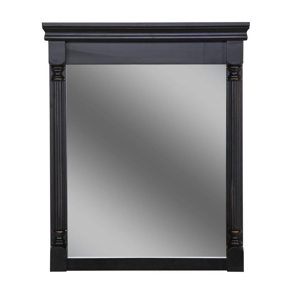 Valencia 35 in. L x 28 in. W Framed Wall Mirror in Antique Black
