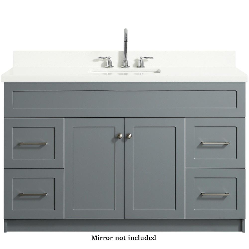 Ariel Hamlet 55 in. Bath Vanity in Grey with Quartz Vanity Top in White with White Basin