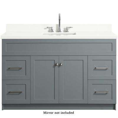 Hamlet 55 in. Bath Vanity in Grey with Quartz Vanity Top in White with White Basin