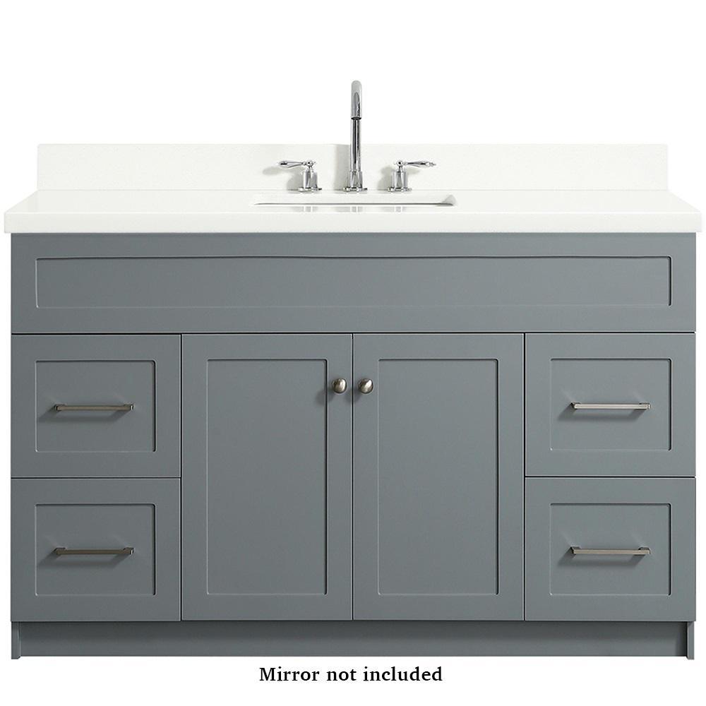 Hamlet 55 in. Bath Vanity in Grey with Quartz Vanity Top in White with White Basin