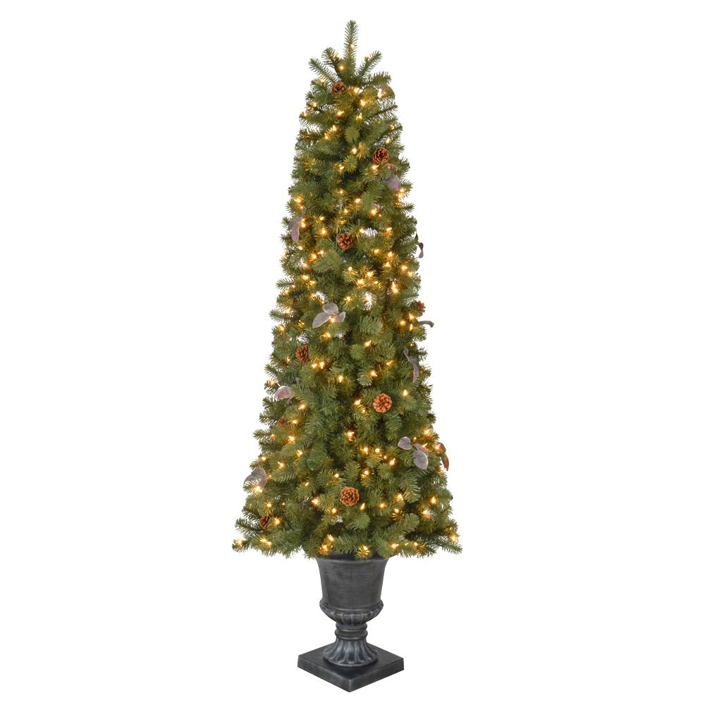 Home Accents Holiday 6 5 Ft Pre Lit Greenland Potted Artificial Christmas Tree With 685