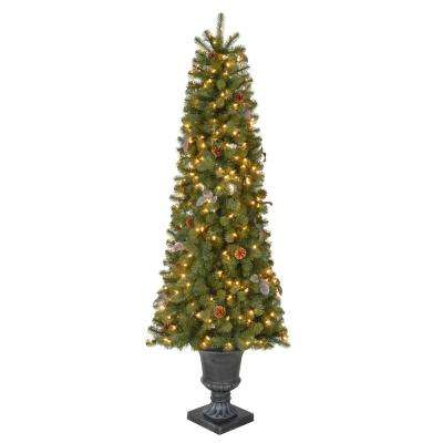 6.5 ft. Pre-Lit Greenland Potted Artificial Christmas Tree with 685 Tips and 250 Clear Lights