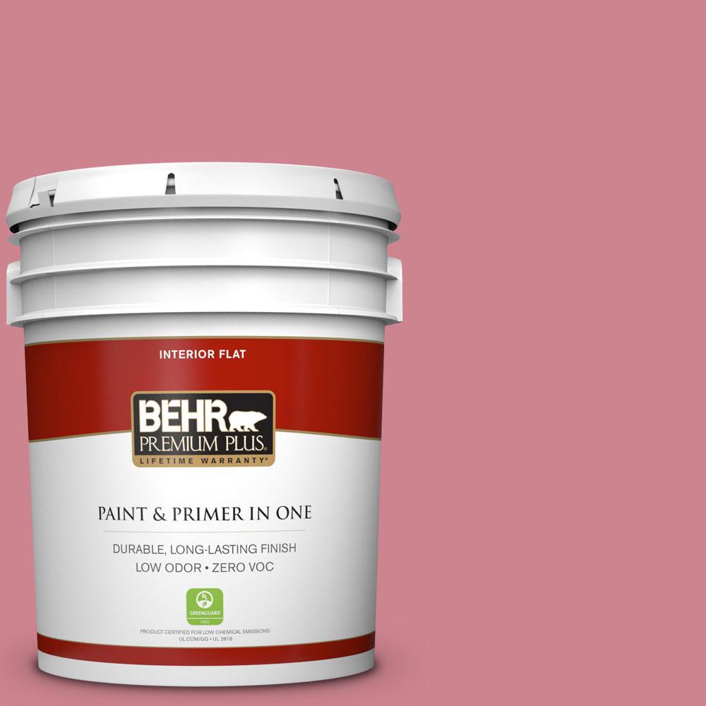 BEHR Premium Plus 5-gal. #130D-4 Rose Sachet Zero VOC Flat Interior Paint