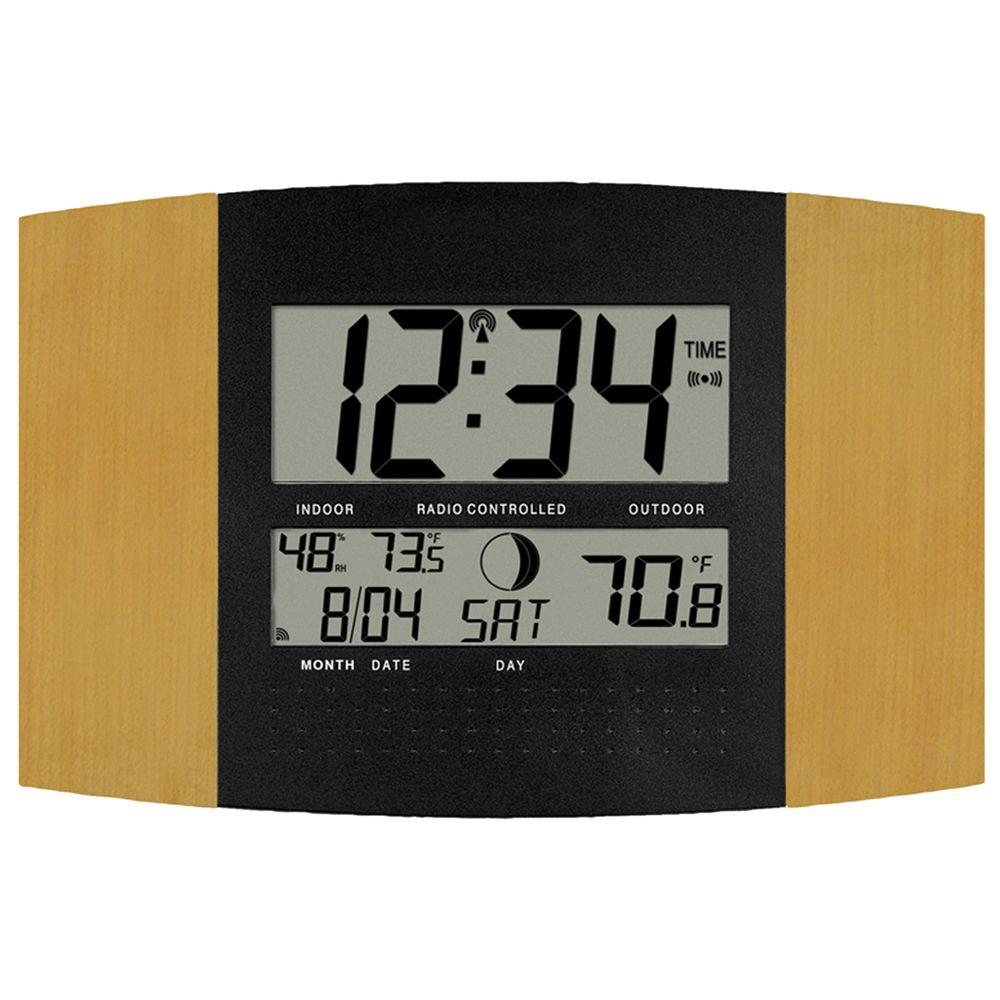 La Crosse Technology Atomic Digital Wall Clock with Temp and Moon