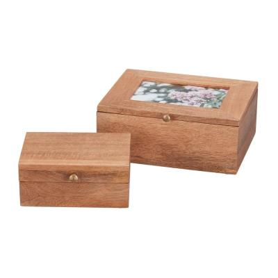 Home Decorators Collection Rectangle Wood Photo Nested Storage Box with Lid (Set of 2)
