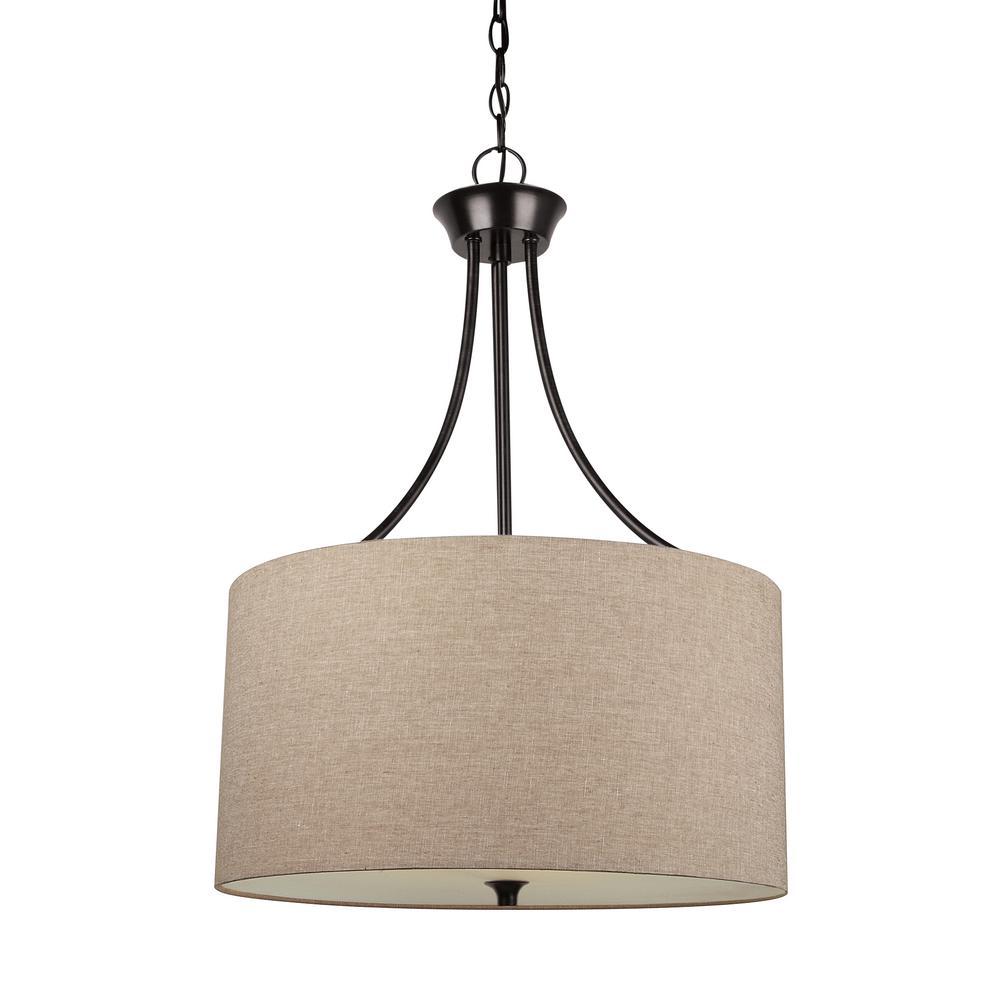 Stirling 3-Light Burnt Sienna Pendant with LED Bulbs