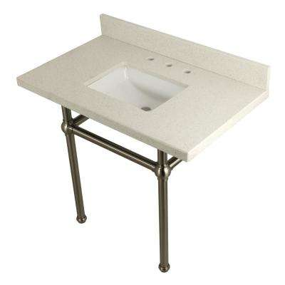Square-Sink Washstand 36 in. Console Table in White Quartz with Metal Legs in Satin Nickel