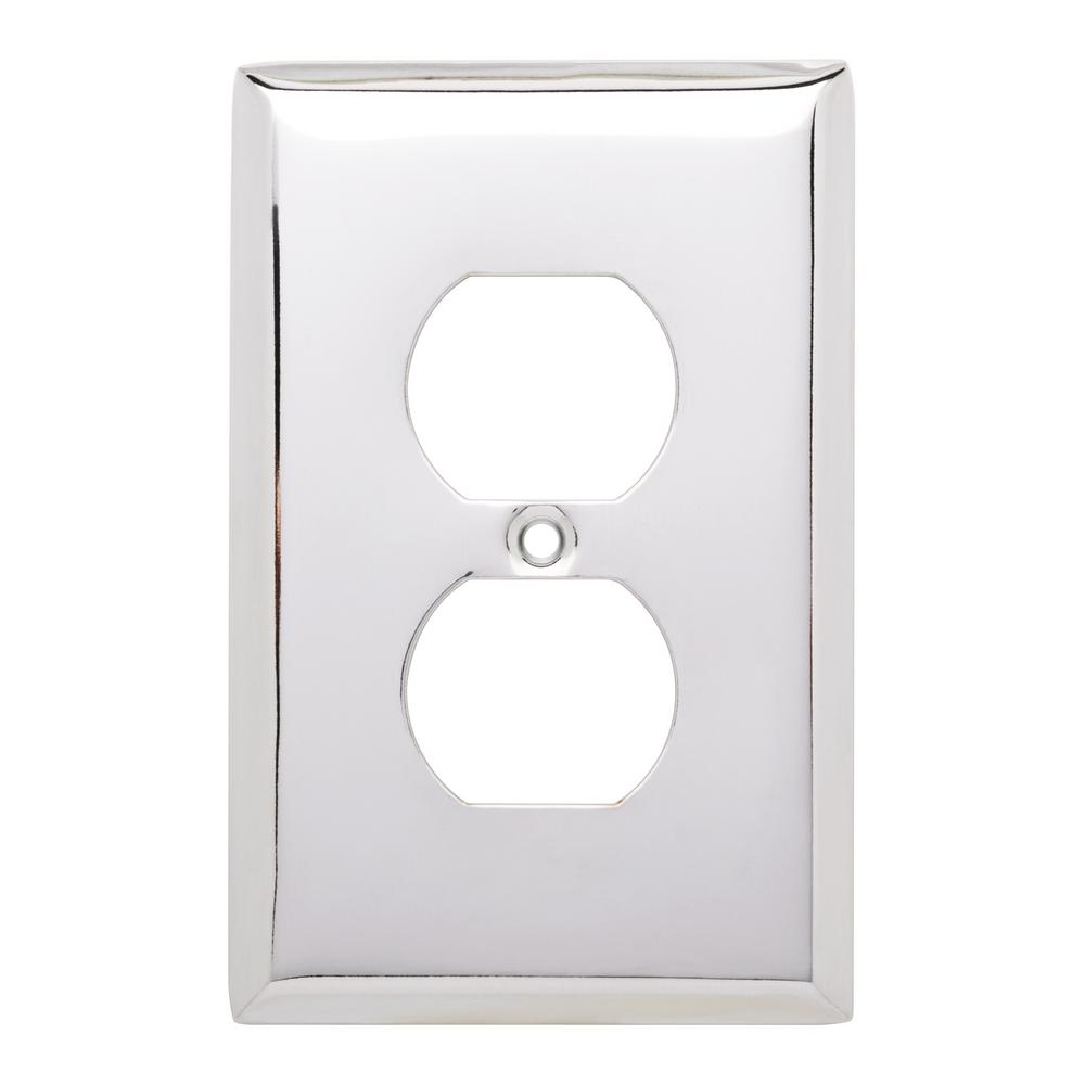 Stamped Square Decorative Single Duplex Outlet Cover, Polished Chrome