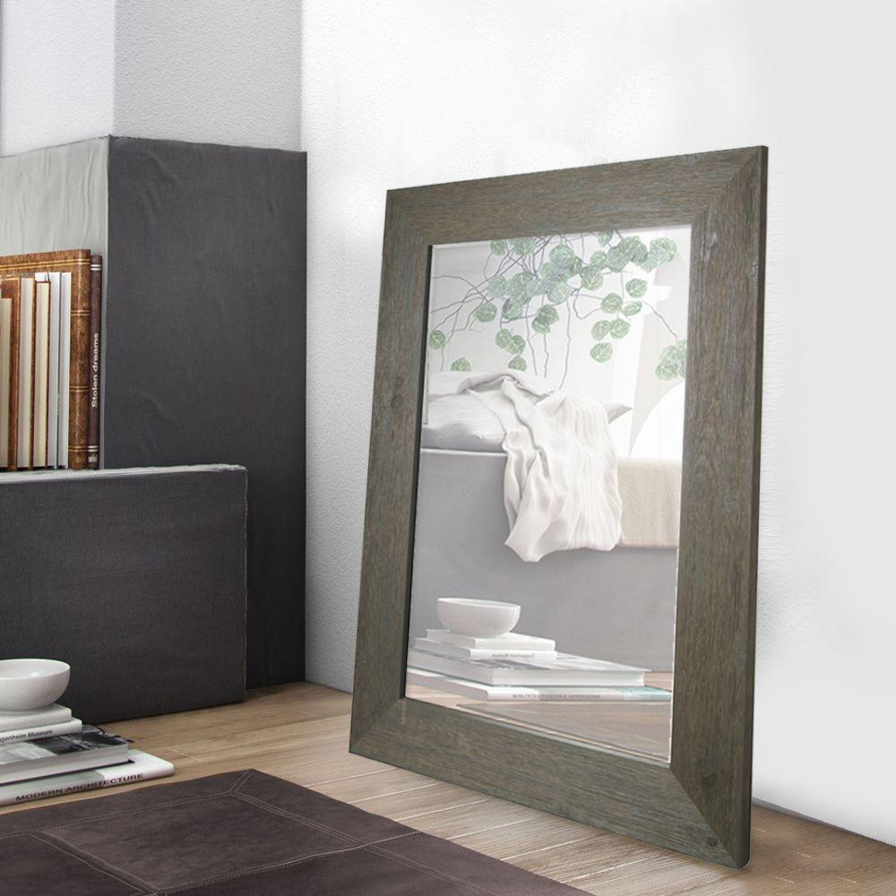 W Grey Hand Stained Wood Beveled Mirror Overall Rating