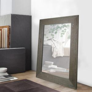46 inch H x 34 inch W Grey Hand Stained Wood Beveled Mirror (Inner Mirror 24 inch x 36... by