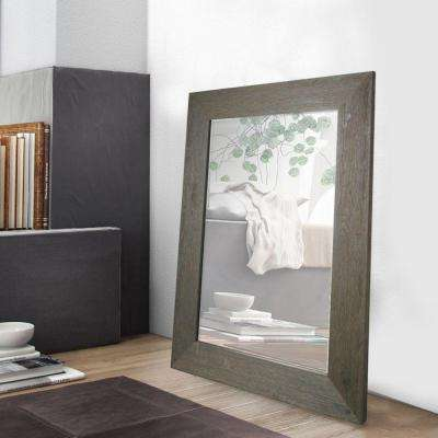 46 in. H x 34 in. W Grey Hand Stained Wood Beveled Mirror (Inner Mirror 24 in. x 36 in.)