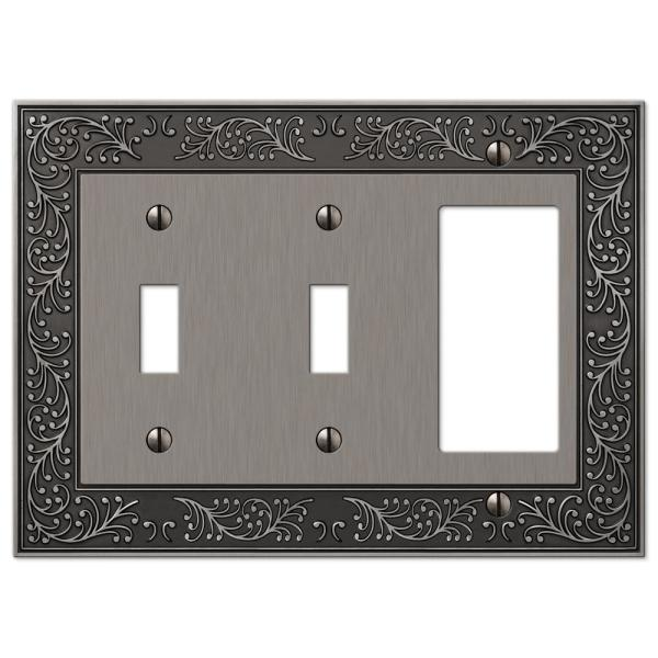 Bleinhem 3 Gang 2-Toggle and 1-Rocker Metal Wall Plate - Antique Nickel