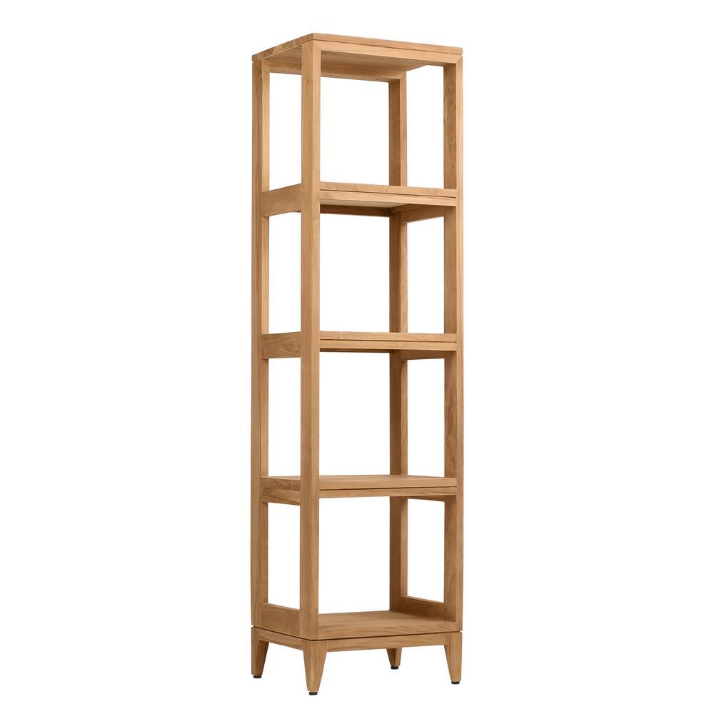 Teak 16 in. W x 13 in. D x 60 in. H Linen Floor Cabinet in Natural Teak