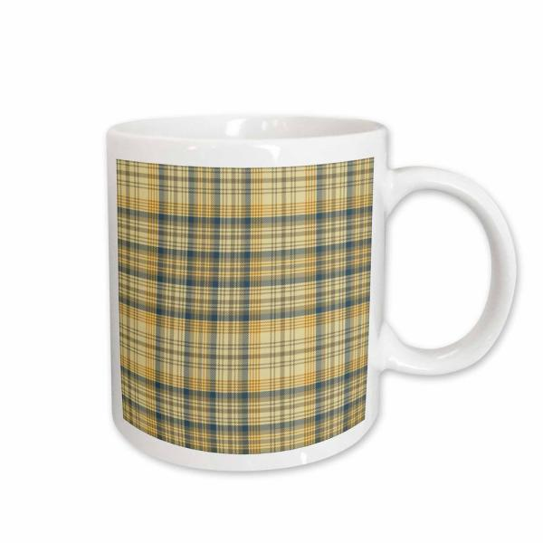 132653e1d7dc PS Creations Yellow and Gray Large Plaid Pattern 11 oz. White Ceramic  Coffee Mug