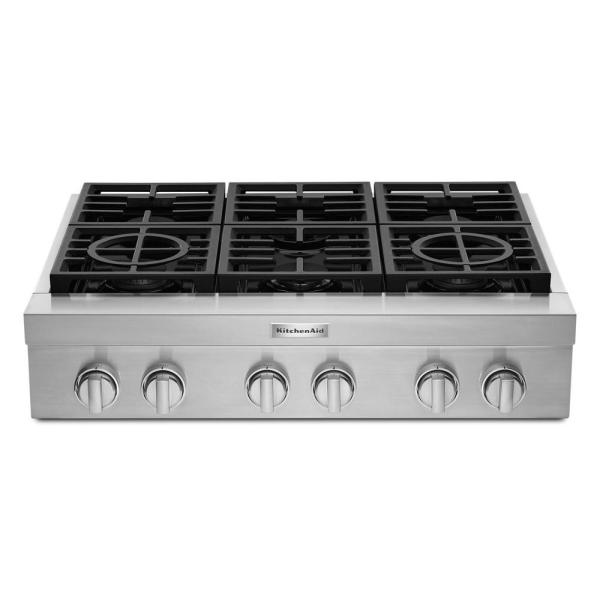 36 in. Gas Commercial Cooktop with 6-Burners in Stainless Steel