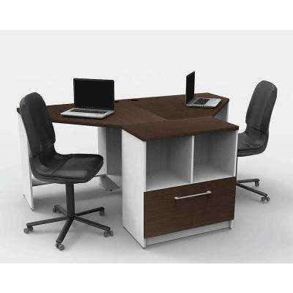 3-Piece White/Espresso Office Reception Desk Collaboration Center