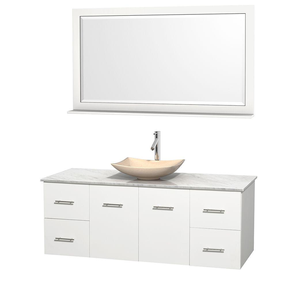 Wyndham Collection Centra 60 in. Vanity in White with Marble Vanity Top in Carrara White, Ivory Marble Sink and 58 in. Mirror