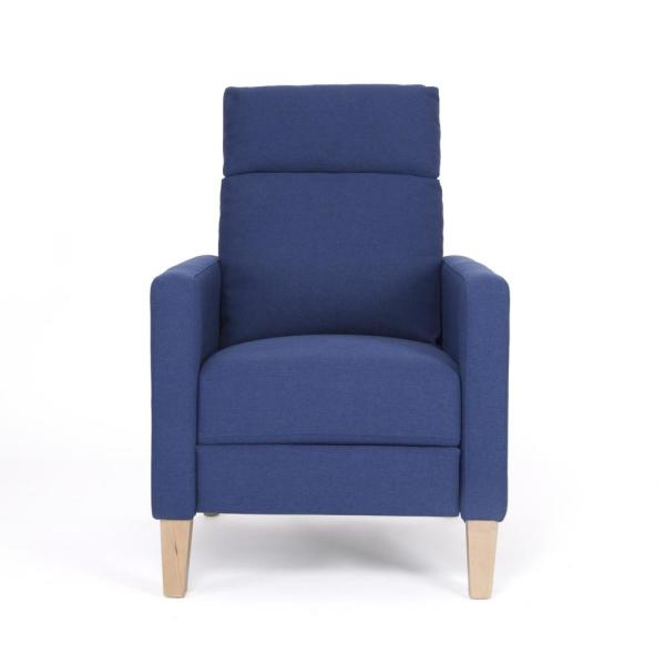 Noble House Vanessa Mid-Century Modern Navy Blue Fabric Recliner