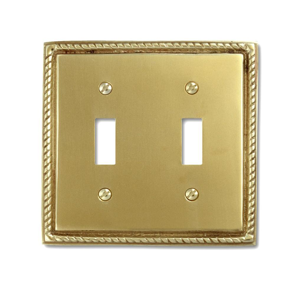 Amerelle Georgian 2 Toggle Wall Plate - Bright Brass