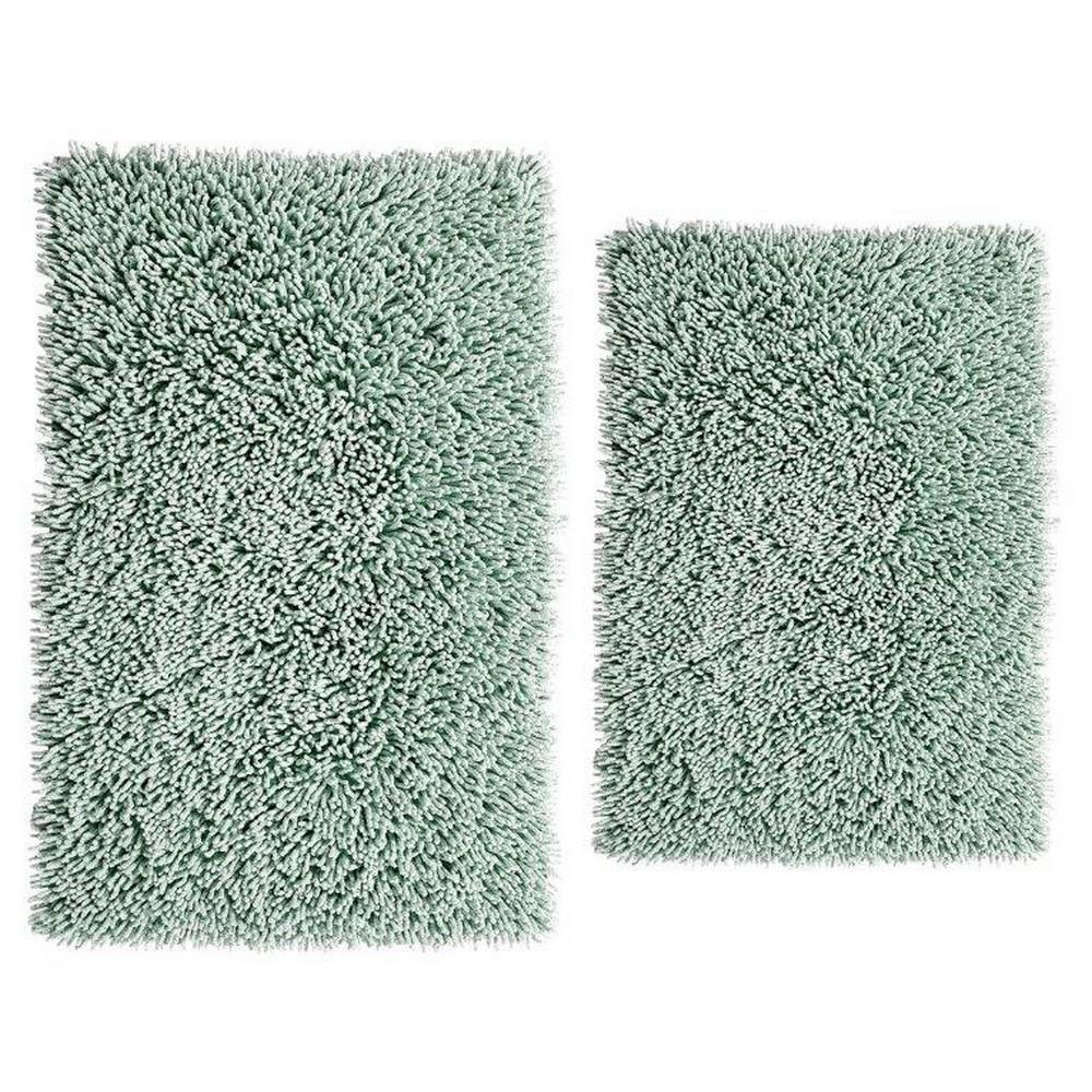 Light Sage 17 In. X 24 In. And 24 In. X 40 In. Chenille Shaggy Bath Rug Set (2 Piece)