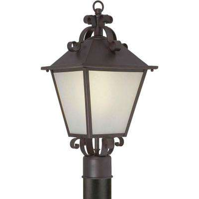 1-Light Outdoor Antique Bronze Pendant with Frosted Seeded Glass Panels