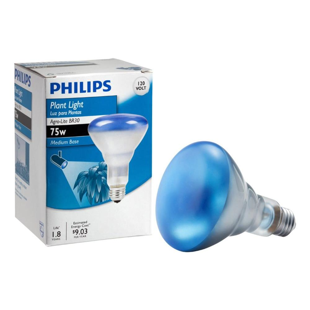 Philips 75-Watt BR30 Incandescent Agro Plant Flood Grow Light Bulb ...