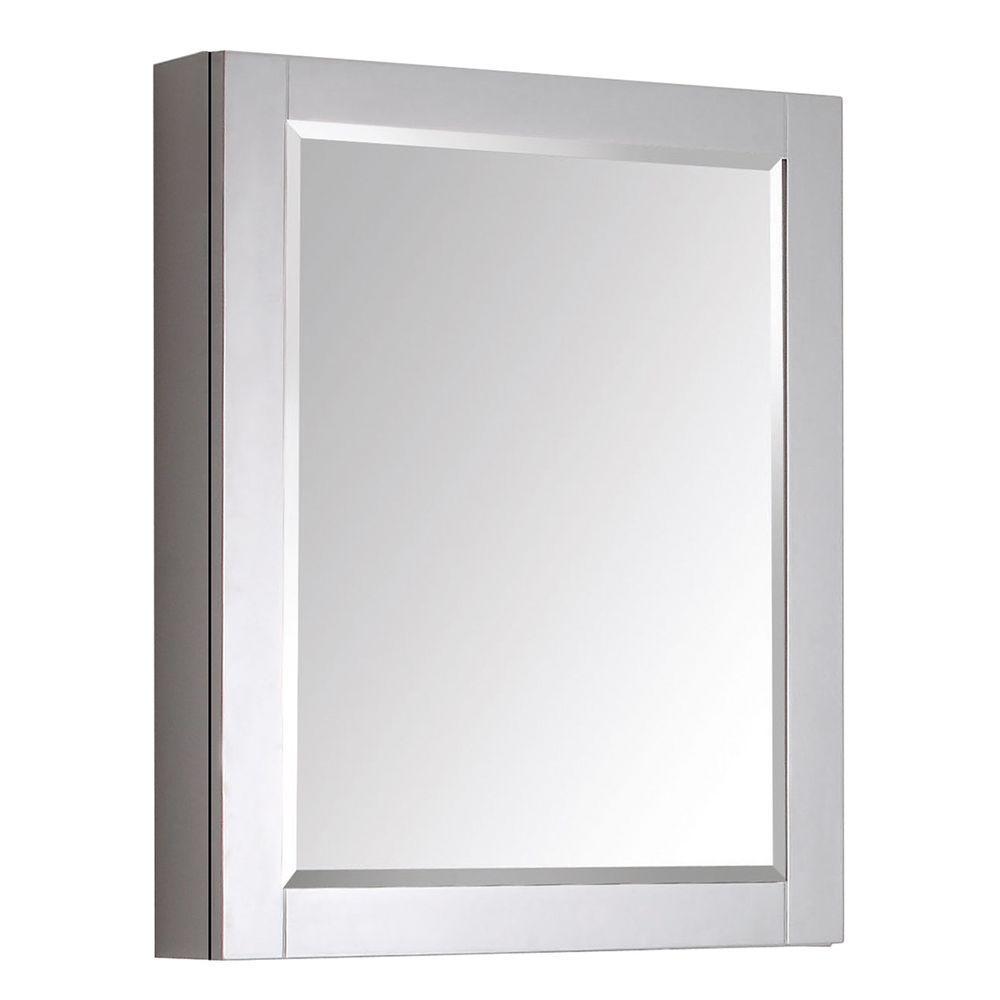 Transitional 24 in. W x 30 in. H Framed Rectangular Beveled Edge Bathroom Vanity Mirror in Gray