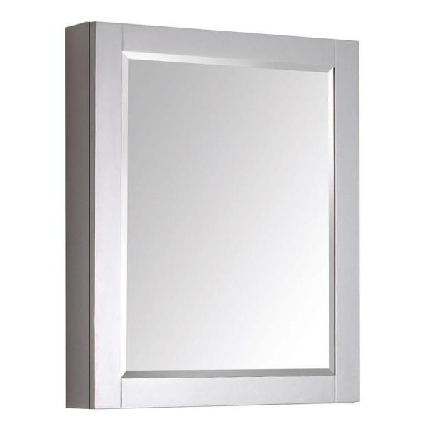 Transitional 24 in. W x 30 in. H Framed Rectangular Beveled Edge Bathroom Vanity Mirror in Gray