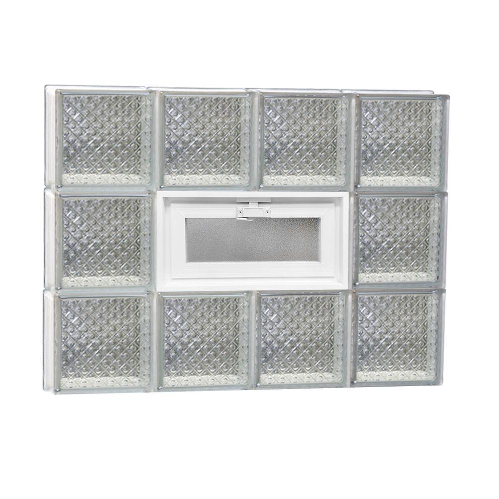 Clearly Secure 31 in. x 23.25 in. x 3.125 in. Vented Diamond Pattern Glass Block Window