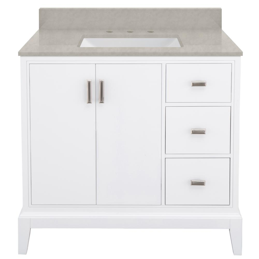 Home Decorators Collection Shaelyn 37 in. W x 22 in. D Bath Vanity in White RH with Engineered Marble Vanity Top in Dunescape with White Sink