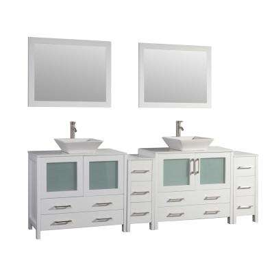 Ravenna 96 in. W x 18.5 in. D x 36 in. H Bathroom Vanity in White with Double Basin Top in White Ceramic and Mirrors
