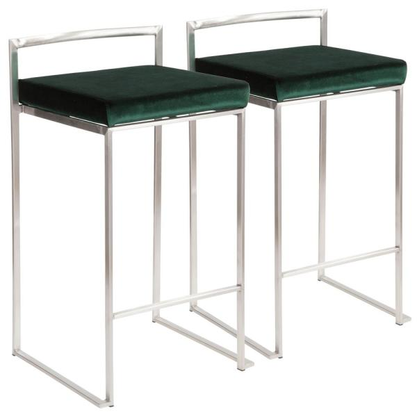 Lumisource Fuji 26 in. Stainless Steel Stackable Counter Stool Stainless Steel