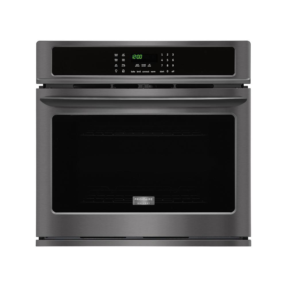 30 in. Single Electric Wall Oven Self-Cleaning with Convection in Black